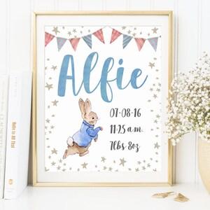 Rabbit Baby birth announcement Bunny Rabbit Printable Watercolor New baby boy