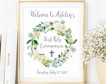 Customized First Holy Communion Sign, Personalized Welcome Sign, Poster, First Communion, Communion Printable, Party Decor, Celebration sign