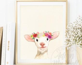 Lamb Print, Baby Sheep Wall Art, Nursery Animal, Farm Animals Prints, Lamb Watercolor, Lamb Wall Art, Baby Sheep Decor, Girls Nursery, 27W