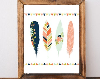 Feather Art, INSTANT DOWNLOAD, Tribal Feather Print, Printable Wall Art, Feather Nursery, Feather Wall Decor, Kids Prints, Childrens Prints