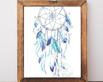 Blue Dream catcher  print, dreamcatcher wall art, boho dream catcher, Instant download, tribal, Watercolor, Blue Feathers printable