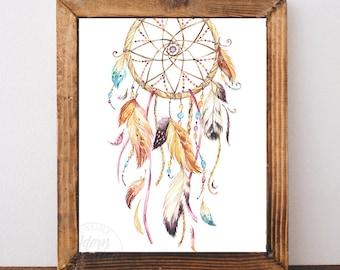 Dreamcatcher print, dreamcatcher art, dream catcher print, printable art, tribal print, wall art, instant download, dream catcher