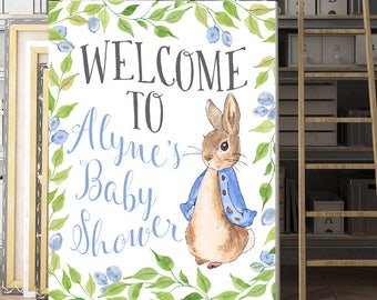 225ffb941 Baby Shower Sign, Custom welcome sign, Personalized, Peter Rabbit Baby  Shower, Customized, Baby Shower Poster, Peter Rabbit Sign, Printable