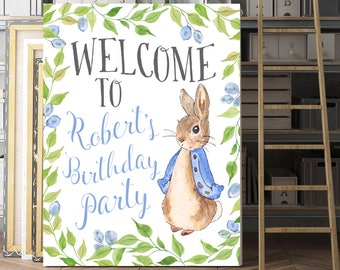Customized Birthday Sign, Personalized Party Sign, Birthday Party Sign, Peter Rabbit Party, Beatrix Potter Party, Welcome Sign, Printable