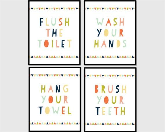 Kids Bathroom Wall Art Kids Bathroom Decor Wash Your Hands Etsy
