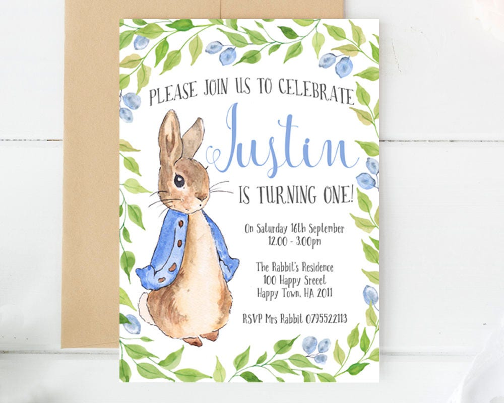 Peter Rabbit Invitations Custom Invitations Custom Made Etsy