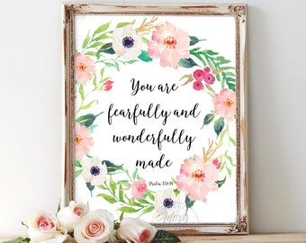 You are fearfully and wonderfully made, Psalm 139:14, bible verse, nursery wall art, nursery decor, scripture print, nursery art