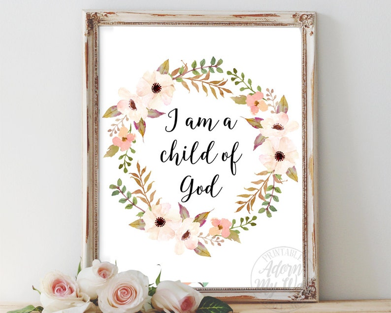 image about I Am a Child of God Printable named I am a boy or girl of God, Prompt obtain, nursery decor, print, wall artwork, baptism reward, bible verse, printable, boy or girl shower present, christian