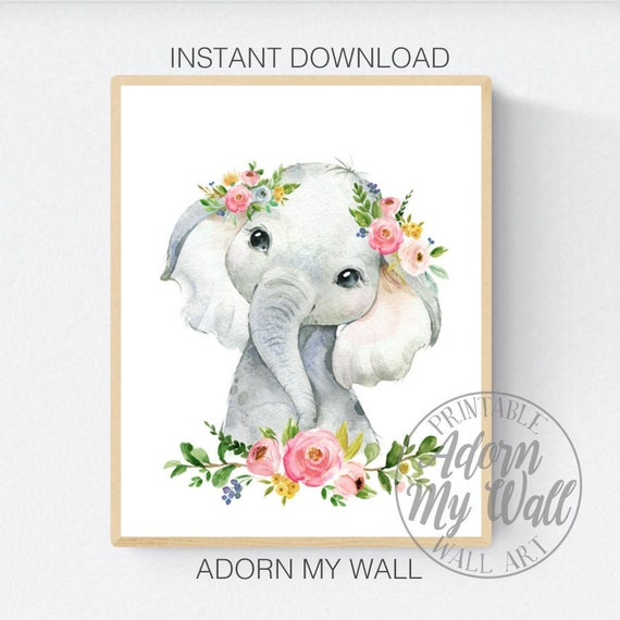 Digital Download 8x10 11x14 Baby Girl Nursery Printable Wall Art Nursery Prints Elephant Prints Nursery Decor Girl Bedroom Decor