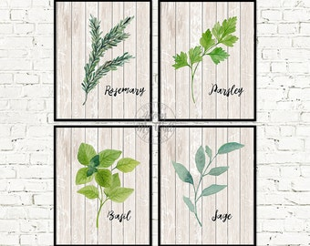 Kitchen art, herb print, kitchen decor, kitchen print, botanical print, kitchen wall art, herbs print, herb prints, kitchen wall decor, herb