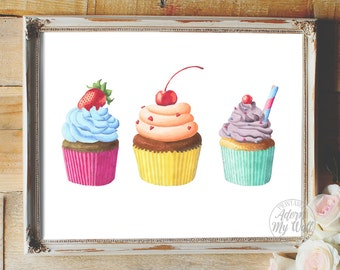 Cupcakes printable, kitchen food art, wall decor, poster, 8x10, Cupcake kitchen wall art