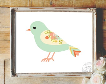 Nursery bird print, nursery art, nursery decor, nursery print, nursery wall decor, baby girl nursery, bird nursery art, bird nursery, print