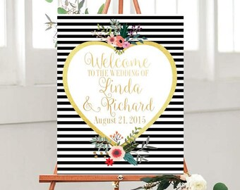 Wedding Signs Printable, Welcome Wedding Sign, Welcome to Our Wedding Sign, Custom sign, Wedding Printables, Black And Gold