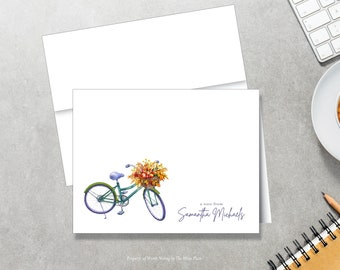 Fall Bicycle Note Cards - Autumn Note Cards - Personalized Stationery - Set of 8 - Folded Notes - Stationary