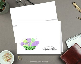 Personalized Note Cards - Knitting and Bowl of Yarn - Set of 8 - Folded Notes - Stationery - Stationary
