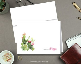 Personalized Note Cards - Cactus with Pink Flower - Succulents - Set of 8 - Notes - Folded - Stationery - Stationary