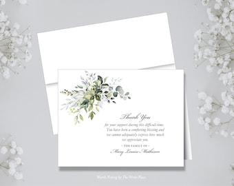 Personalized Note Cards - Sympathy Funeral Thank You Botanical - Set of 8 - Notes - Folded - Stationery
