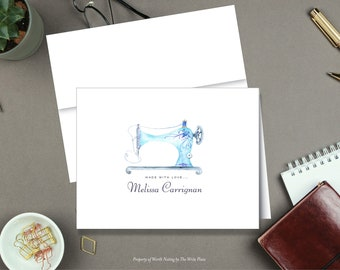 Personalized Note Cards - Sewing Machine - Made With Love - Set of 8 - Folded Notes - Stationery - Stationary