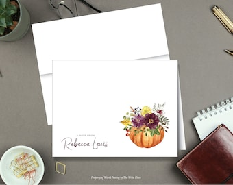 Fall Pumpkin Bouquet Note Cards - Autumn Note Cards - Personalized Stationery - Set of 8 - Folded Notes - Stationary