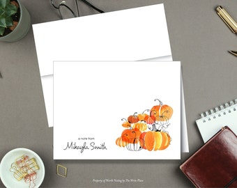 Fall Pumpkins Note Cards - Autumn Note Cards - Personalized Stationery - Set of 8 - Folded Notes - Stationary