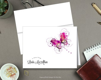 Personalized Note Cards - Pink Butterfly - Set of 8 - Notes - Folded - Stationery - Stationary