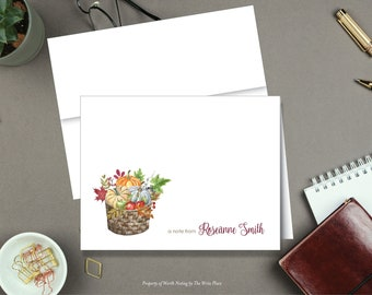 Fall Pumpkin Basket Note Cards - Autumn Note Cards - Personalized Stationery - Set of 8 - Folded Notes - Stationary