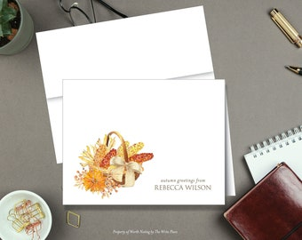 Fall Harvest Basket Note Cards - Autumn Note Cards - Personalized Stationery - Set of 8 - Folded Notes - Stationary