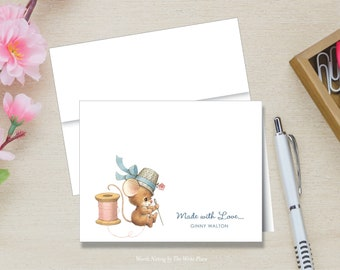 Personalized Note Cards - Sewing Mouse - Made With Love - Set of 8 - Folded Notes - Stationery - Stationary