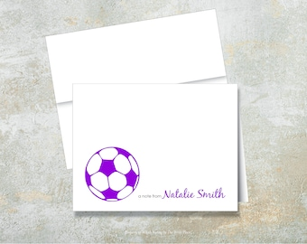 Personalized Note Cards Set of 8 Soccer Ball Notes Folded Stationery for Kids