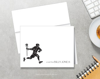 Personalized Note Cards - Lacrosse Player - Set of 8 - Notes - Folded - Stationery for Kids - Stationary