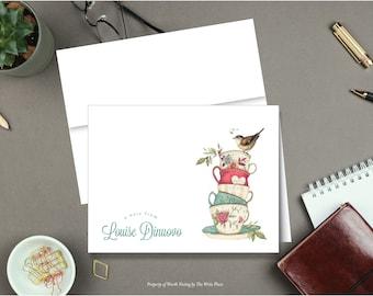 Personalized Note Cards - Thankful Heart Teacups - Set of 8 - Notes - Folded - Stationery