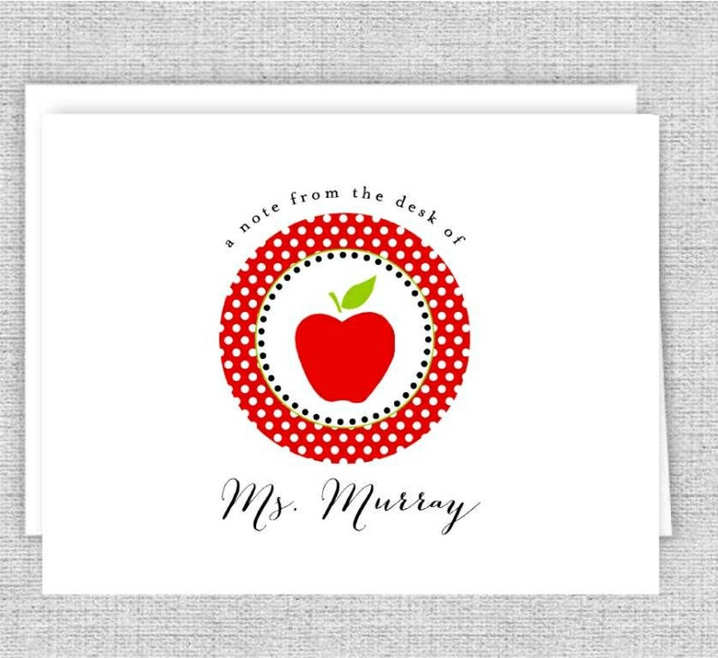 Set of 8 Apple for Teacher Personalized Folded Notes
