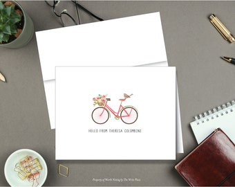 Personalized Note Cards - Pink Bicycle - Set of 8 - Notes - Folded - Stationery