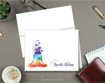 Personalized Note Cards - Rainbow Yoga Meditation - Set of 8 - Notes - Folded - Stationery