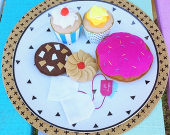 donut, cupcakes, biscuits and tea felt play food, montessori toys
