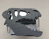 T-Rex Skull in 3d -  Chrome with Grey - 2 inch Trailer Hitch Cover  -  Awesome Design Tyrannosaurus Dinosaur