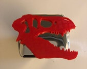 T-Rex Skull in 3d -  Chrome with RED - 2 inch Trailer Hitch Cover  -  Awesome Design Tyrannosaurus Dinosaur