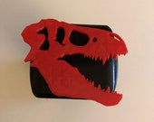 T-Rex Skull in 3d -  Black with RED - 2 inch Trailer Hitch Cover  -  Awesome Design Tyrannosaurus Dinosaur