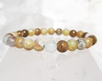 ॐ Regency Rose Plume Agate Bracelet 6mm ॐ Mala Bracelet - Yoga Bracelet - Meditation - Reiki Bracelet 6 mm