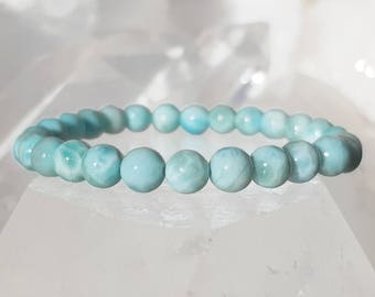 ॐ Larimar Bracelet 6mm ॐ Mala Bracelet - Yoga Bracelet - Meditation - Reiki Bracelet 6 mm