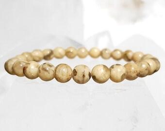 ॐ Beige Amazonite Bracelet 6mm ॐ Mala Bracelet - Yoga Bracelet - Meditation - Reiki Bracelet 6 mm