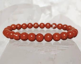 ॐ Red Jasper Bracelet 6mm ॐ Mala Bracelet - Yoga Bracelet - Meditation - Reiki Bracelet 6 mm