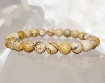 ॐ Picture Jasper Bracelet 6mm ॐ Mala Bracelet - Yoga Bracelet - Meditation - Reiki Bracelet 6 mm