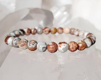 ॐ Crazy Lace Agate Bracelet 6mm ॐ Mala Bracelet - Yoga Bracelet - Meditation - Reiki Bracelet 6 mm
