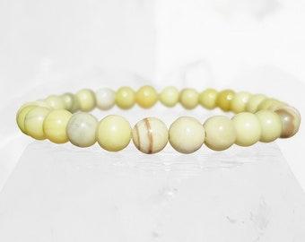 ॐ Yellow Tallow Jasper Bracelet 6mm ॐ Mala Bracelet - Yoga Bracelet - Meditation - Reiki Bracelet 6 mm