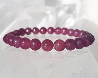 ॐ Ruby Bracelet 6mm ॐ Mala Bracelet - Yoga Bracelet - Meditation - Reiki Bracelet 6 mm
