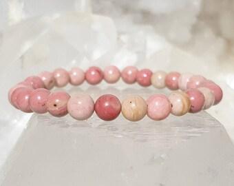 ॐ Rhodonite AA Bracelet 6mm ॐ Mala Bracelet - Yoga Bracelet - Meditation - Reiki Bracelet 6 mm