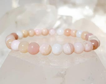 ॐ Pink Opal Bracelet 6mm ॐ Mala Bracelet - Yoga Bracelet - Meditation - Reiki Bracelet 6 mm