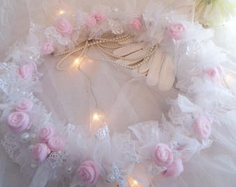 Flower Crown, tulle, pearls and pink lace powder and white, 33cm