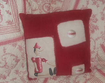 "Country chic ""toys of yesteryear 1"" pillow cover red, white and beige 40 / 40cm"